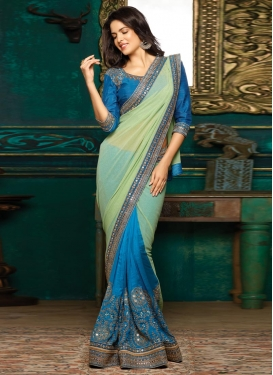 Blue and Mint Green Embroidered Work Half N Half Trendy Saree