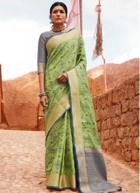 Blue and Mint Green Handloom Silk Designer Contemporary Saree