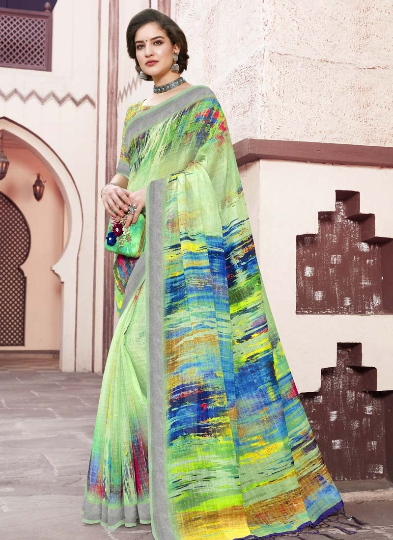 Blue and Mint Green Linen Traditional Designer Saree