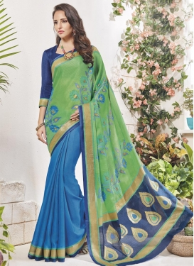 Blue and Mint Green Print Work Half N Half Trendy Saree