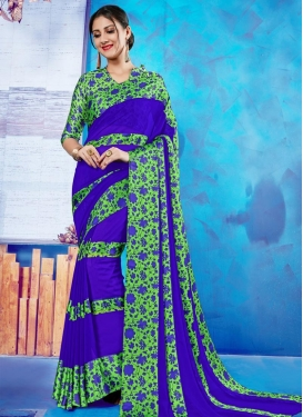 Blue and Mint Green Traditional Saree For Casual