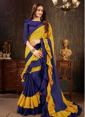 Blue and Mustard Faux Georgette Classic Designer Saree