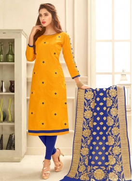 Blue and Mustard Trendy Churidar Suit For Festival