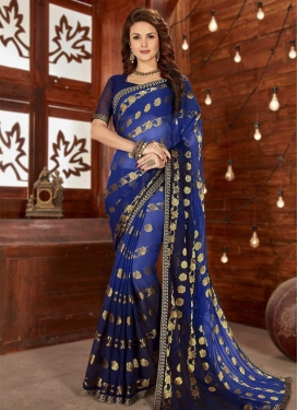 Blue and Navy Blue Lace Work Classic Saree