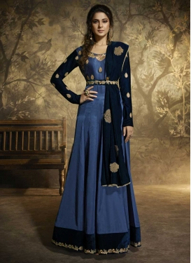 Blue and Navy Blue Satin Silk Long Length Anarkali Salwar Suit