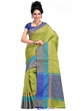 Blue and Olive Contemporary Style Saree