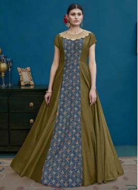 Blue and Olive Embroidered Work Art Silk Long Length Designer Anarkali Suit