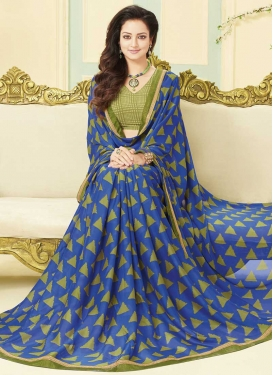 Blue and Olive Lace Work Designer Contemporary Style Saree