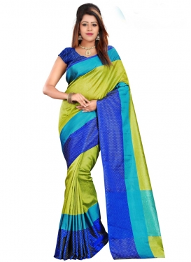 Blue and Olive Print Work Contemporary Style Saree