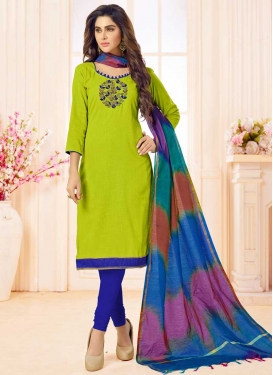 Blue and Olive Trendy Straight Salwar Suit