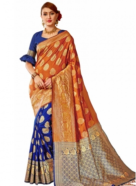 Blue and Orange Half N Half Trendy Saree
