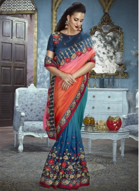 Blue and Orange Half N Half Trendy Saree For Ceremonial