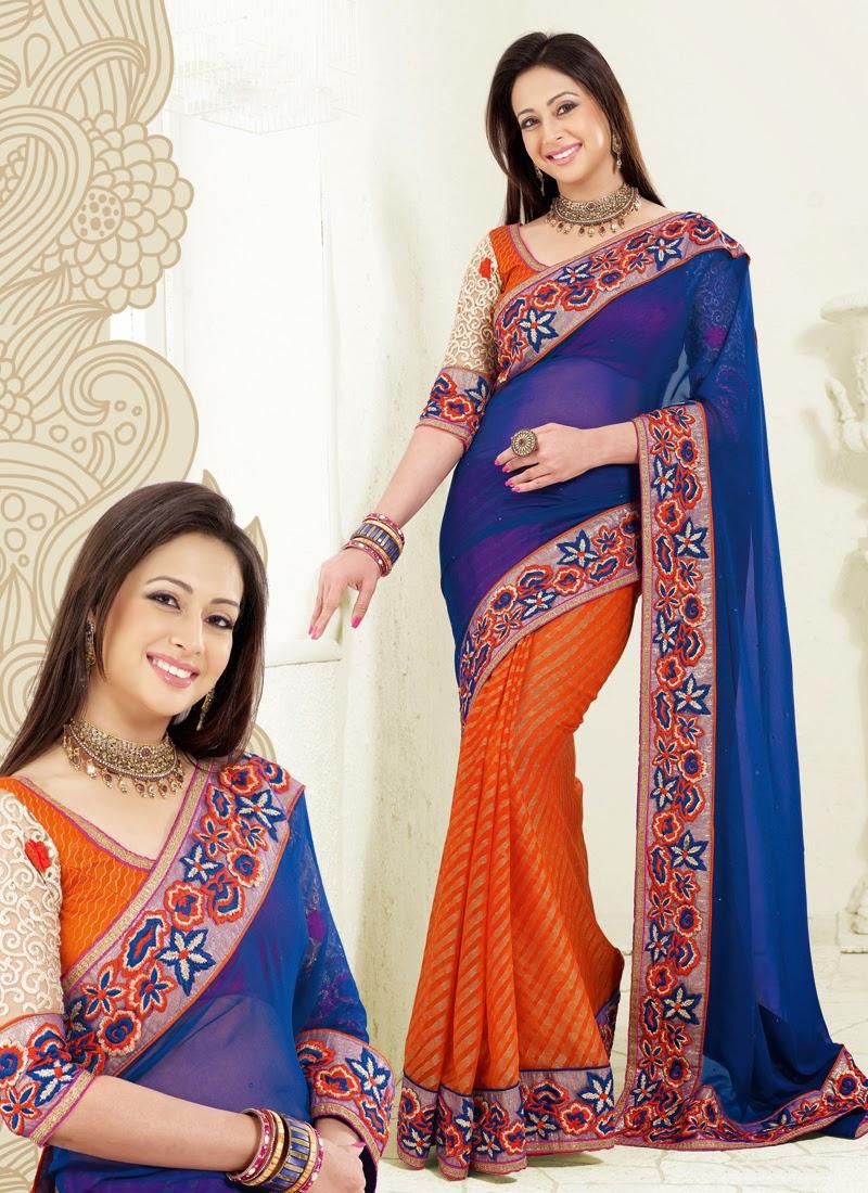 Blue And Orange Preeti Jhangiani Half N Half Saree