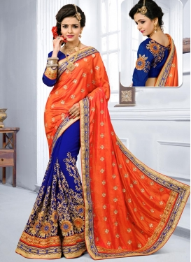Blue and Orange Pure Georgette Half N Half Trendy Saree