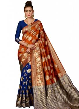 Blue and Orange Thread Work Designer Half N Half Saree