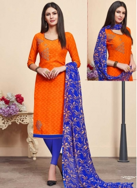 Blue and Orange Trendy Churidar Suit For Casual