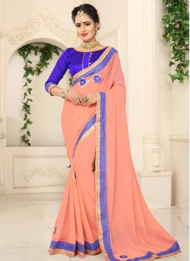 Blue and Peach Trendy Saree