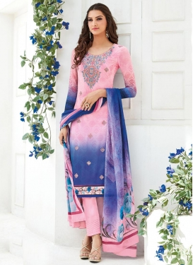 Blue and Pink Faux Georgette Pant Style Straight Salwar Kameez