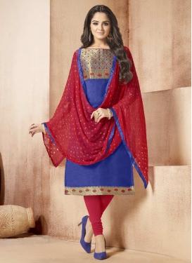 Blue and Red Churidar Salwar Kameez