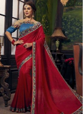 Blue and Red Contemporary Saree