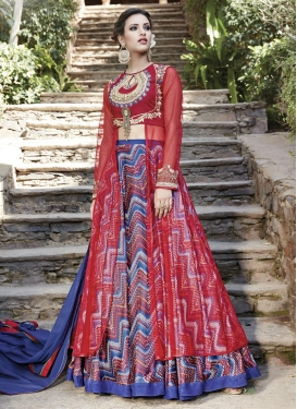 Blue and Red Digital Print Work Long Choli Lehenga