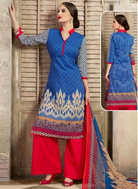 Blue and Red Digital Print Work Palazzo Salwar Kameez