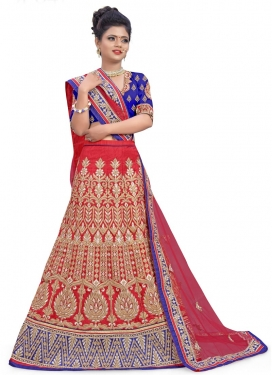 Blue and Red Embroidered Work A - Line Lehenga
