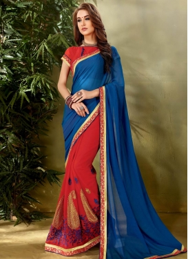 Blue and Red Half N Half Saree