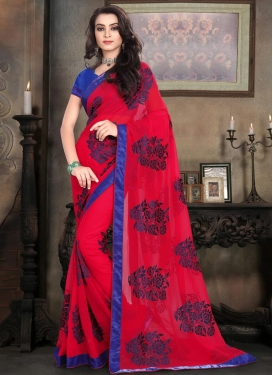 Blue and Red Traditional Saree For Ceremonial