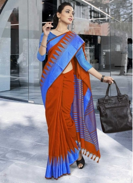 Blue and Red Trendy Classic Saree For Casual
