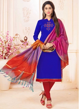 Blue and Red Trendy Straight Suit For Ceremonial