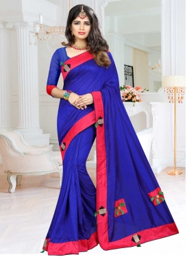 Blue and Rose Pink Art Silk Classic Saree