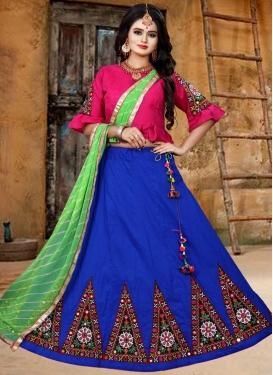 Blue and Rose Pink Art Silk Designer Classic Lehenga Choli