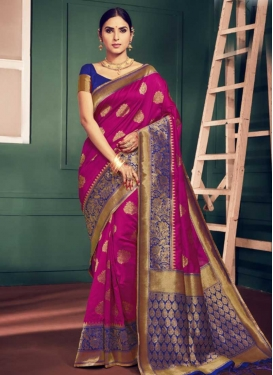 Blue and Rose Pink Art Silk Trendy Saree