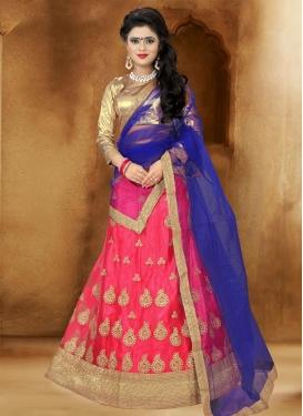 Blue and Rose Pink Booti Work Designer Lehenga Choli