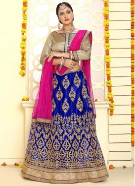 Blue and Rose Pink Booti Work Trendy Lehenga Choli