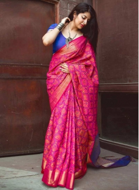 Blue and Rose Pink Classic Saree For Ceremonial
