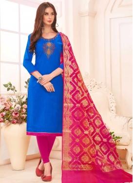 Blue and Rose Pink Cotton Churidar Salwar Kameez