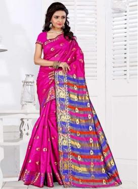 Blue and Rose Pink Designer Contemporary Saree