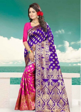 Blue and Rose Pink Designer Half N Half Saree For Festival