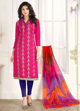 Blue and Rose Pink Embroidered Work Trendy Straight Suit