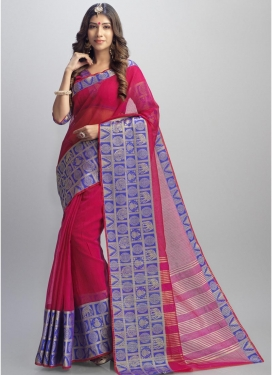 Blue and Rose Pink Jacquard Trendy Classic Saree