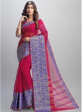 Blue and Rose Pink Jacquard Trendy Classic Saree