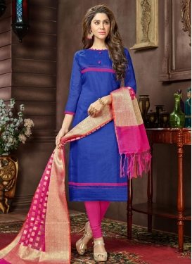 Blue and Rose Pink Lace Work Churidar Suit