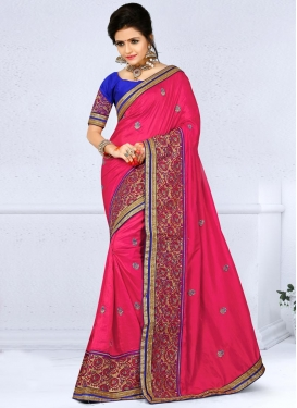 Blue and Rose Pink Silk Traditional Saree For Festival
