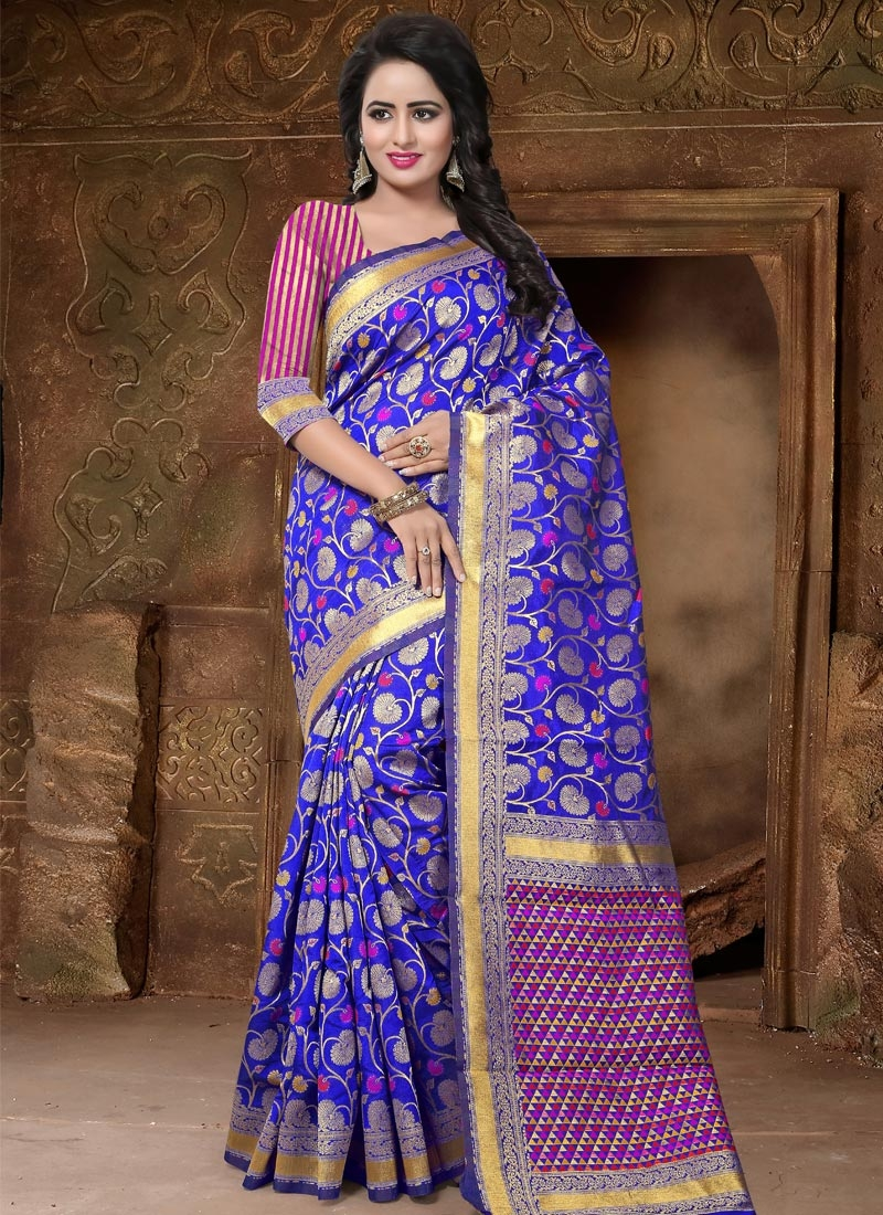 Blue and Rose Pink Thread Work Contemporary Style Saree