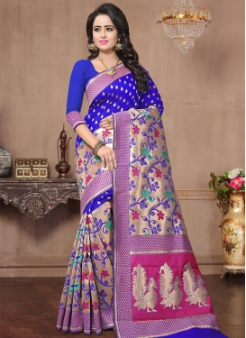 Blue and Rose Pink Thread Work Trendy Classic Saree