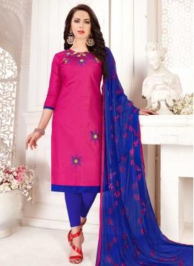 Blue and Rose Pink Trendy Churidar Salwar Suit For Festival