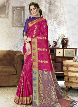 Blue and Rose Pink Trendy Classic Saree