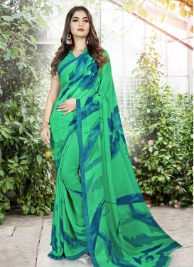 Blue and Sea Green Contemporary Style Saree